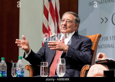 Washington, DC, USA. , . Former Secretary of Defense and Director of CIA, Leon Panetta, speaks at Center for Strategic - Stock Photo