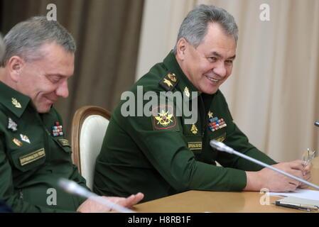 Sochi, Russia. 16th Nov, 2016. Russia's Defence Minister Sergei Shoigu (R) and his deputy Yuri Borisov during a - Stock Photo