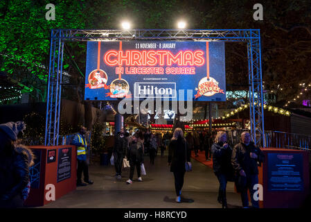 London, UK.  16 November 2016.  A Christmas Market is taking place in Leicester Square until the beginning of January. - Stock Photo