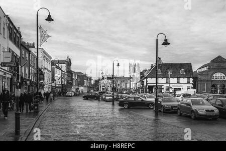 Beverley town centre with view of car park, shops, St Marys Church, and the bandstand on an overcast day in autumn. - Stock Photo