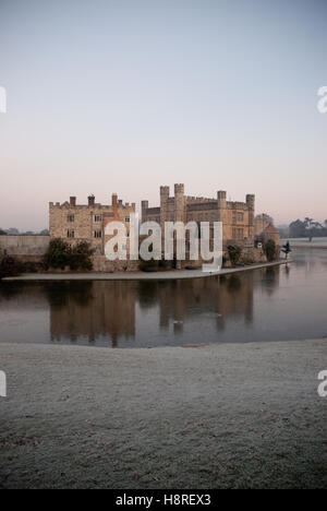 An early winter morning across the moat at Leeds Castle in Kent