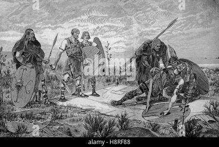 old german combat. Holmgang is a duel practiced by early medieval Scandinavians. It was a recognized way to settle - Stock Photo