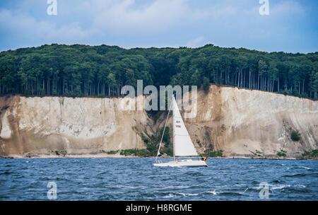 sailing along the chalk cliff coast of Jasmund National Park on the island of Rügen, Baltic Sea, Mecklenburg Vorpommern, - Stock Photo