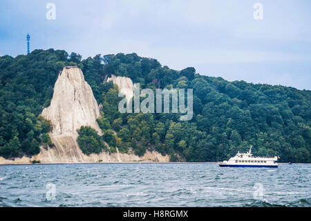 view of the impressive Königsstuhl (King's Chair) cliff face seen from the Baltic Sea, Mecklenburg Vorpommern, Germany - Stock Photo