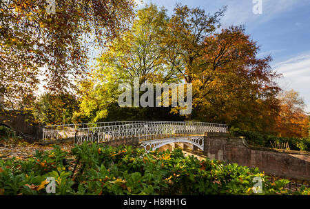 Autumn in Sydney Gardens, Bath, Somerset - Bridge over the Kennet and Avon Canal - Stock Photo