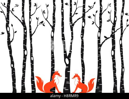 Cute foxes in birch tree forest, vector illustration over white background - Stock Photo