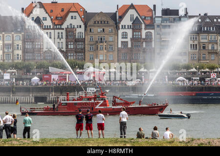 Public presentation of German civil protection units, fire brigades, red cross, technical disaster relief team, - Stock Photo