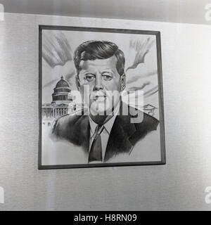 1965, historical, a pencil drawing of the 35th American President, John F. Kennedy in front of the Capitol, the - Stock Photo