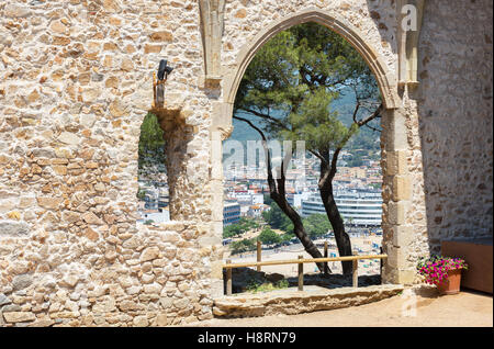 Tossa De Mar view from ruined old church. Costa Brava , Spain - Stock Photo