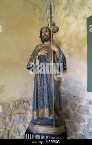 Statue of St. James in Colegiata Santa Juliana, Santillana del Mar, Cantabria, Spain, Europe - Stock Photo