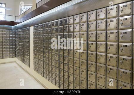 Safe deposit boxes at bank - Stock Photo