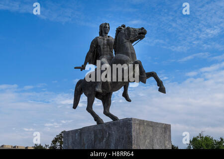 Equestrian bronze statue of Alexander The Great in Thessaloniki, Chalkidiki, Central Macedonia, Greece - Stock Photo