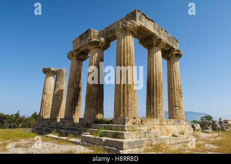 The Temple of Apollo at Corinth, Greece, Europe - Stock Photo