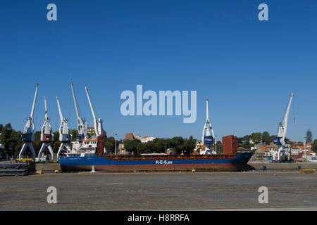 Large ship at the dockyard of the Leixões port in Matosinhos, Portugal, Europe - Stock Photo