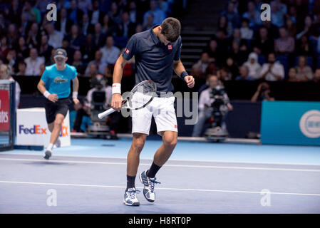 London, UK. 15th Nov, 2016. Novak Djokovic (SRB) and Milos Raonic (CAN) play the second match of Group Ivan Lendl - Stock Photo