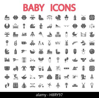 Baby icons set. Flat vector related icon set for web and mobile applications. It can be used as - logo, pictogram, - Stock Photo