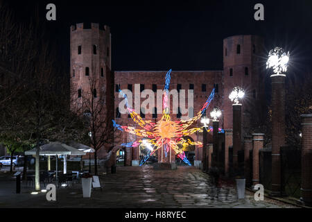 Night view at Christmas time of Torri Palatine in Turin, Italy - Stock Photo