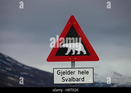 Polar bear warning sign, Longyearbyen, Spitsbergen / Svalbard - Stock Photo