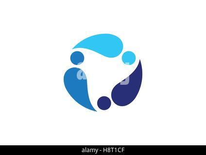 circulation blue water drops logo, team work conceptual logotype symbol icon vector design - Stock Photo
