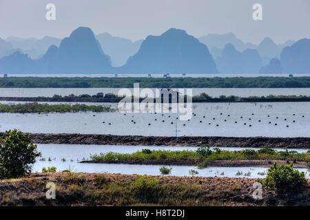 pearl farm at Halong Bay, Vietnam, Indochina, Asia - Stock Photo