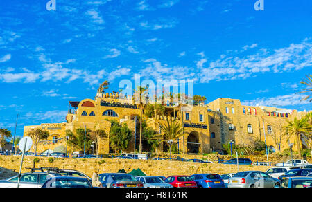 The artists' quarter in old Jaffa is the popular tourist place with many tiny museums and art galleries - Stock Photo