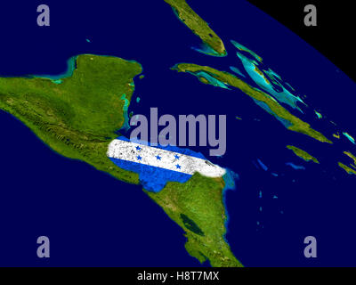Map of Honduras with embedded flag on planet surface. 3D illustration. Elements of this image furnished by NASA. - Stock Photo