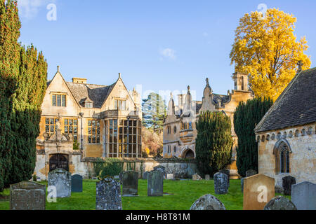 Autumn in the Cotswolds - Stanway House and gatehouse from the churchyard, Stanway, Gloucestershire UK - Stock Photo
