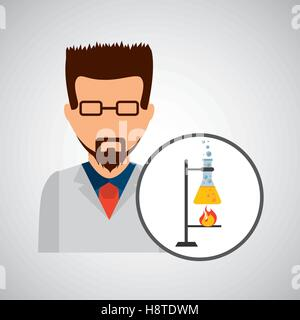male scientist laboratory processing icon vector illustration eps 10 - Stock Photo