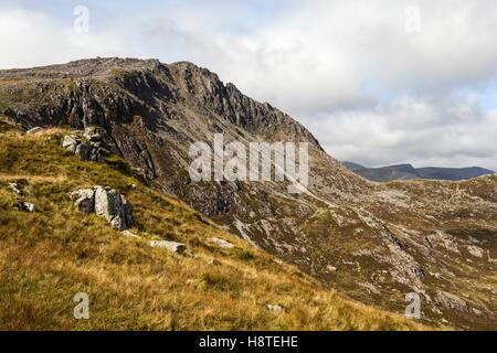 The grade 1 scramble Bristly ridge climbing up from Bwlch Y Tryfan, Snowdonia - Stock Photo