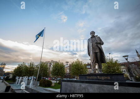 Statue dedicated to Ibrahim Rugova, first president of the Republic of Kosovo in Pristina, capital city of the country - Stock Photo