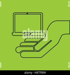 hand hold laptop e-commerce icon vector illustration eps 10 - Stock Photo