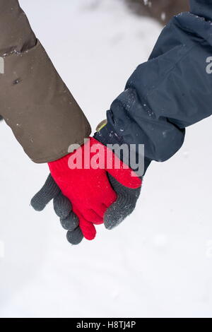 Couple holding hands in a snow covered park - Stock Photo