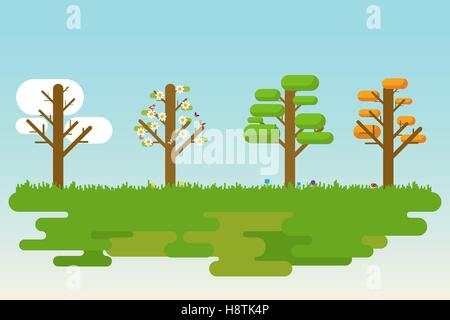 Flat and simple illustration of four season trees. - Stock Photo