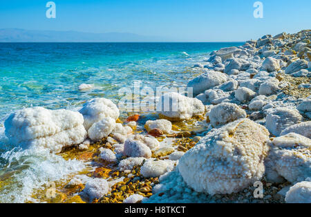 The Dead Sea is the famous tourist resort, and one of the most popular locations in Israel. - Stock Photo