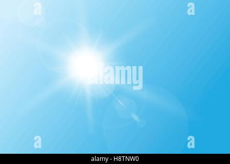 Blue spring sky, with bright sun and flares. - Stock Photo