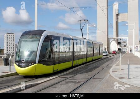 Tram on the bridge of Recouvrance in Brest, Brittany, France - Stock Photo