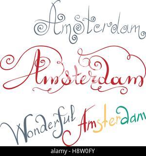 vector Amsterdam hand written inscription - Stock Photo