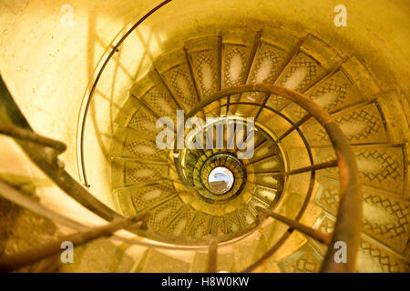 Spiral staircase in the Arc de Triomphe, Paris, France - Stock Photo
