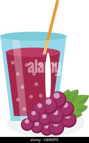 Grape juice in a glass. Fresh   isolated on white background.  fruit and  icon. Blue  drink,  compote. Grapes cocktail - Stock Photo