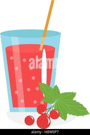 Currant juice in a glass. Fresh   isolated on white background.  fruit and  icon. Red  drink,  compote. Berry cocktail. - Stock Photo