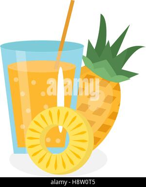 Pineapple juice in a glass. Fresh   isolated on white background.  fruit and  icon.  drink,  compote.  cocktail - Stock Photo