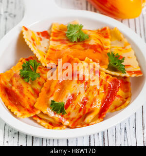Roasted Bell Pepper Ravioli - Stock Photo
