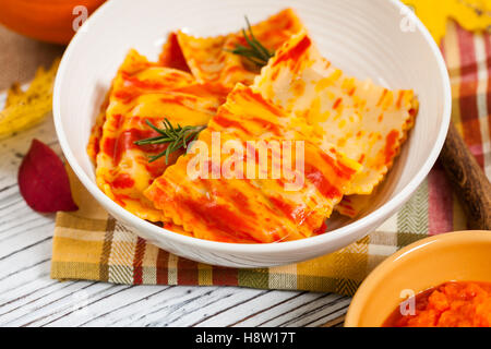 Roasted Pumpkin Ravioli - Stock Photo