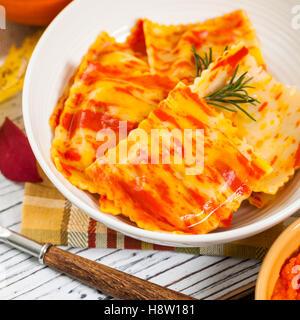 Roasted Pumpkin Ravioli - Stock Photo