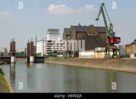 Inner Harbour and Schwanentor Bridge, Duisburg, North Rhine-Westphalia - Stock Photo