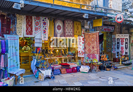 The tourist market on the King David street is the famous tourist destination with the wide range of souvenirs and - Stock Photo