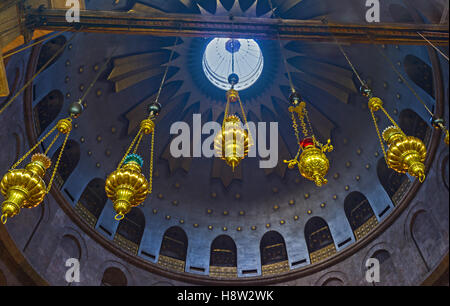 The cupola of Rotunda of Anastasis in Church of the Holy Sepulchre decorated with the stellar ornament - Stock Photo