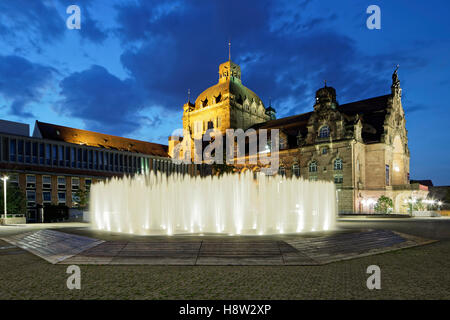 Hexagonal Water Pavilion designed by Jeppe Hein, Opera House, State Theatre, Nuremberg, Middle Franconia, Franconia, - Stock Photo
