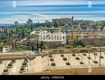 The view from the old city ramparts on the Mamilla road and David's Village (Kfar David) neighborhood, Jerusalem, - Stock Photo