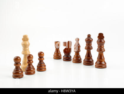 Chess pawns on a white background - Stock Photo
